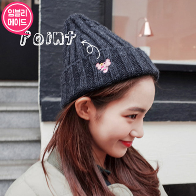 [IMVELY X PINK PANTHER] Pink Panther Ribbed Knit Beanie