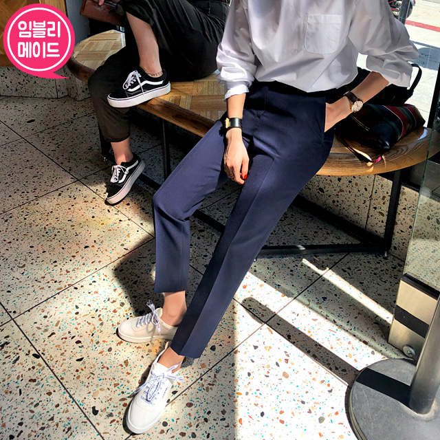 [LONDON SLACKS] Elastic Waist Front Crease Slacks