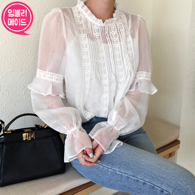 Sheer Lace Pintuck Blouse