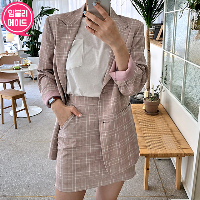 Check Peak Lapel Jacket and Mini Skort Set