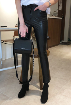 Stretchy Faux Leather Pants
