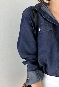 Loose Fit Button-Front Denim Shirt