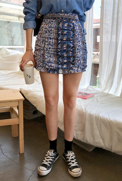 Mixed Print Ruched Skirt