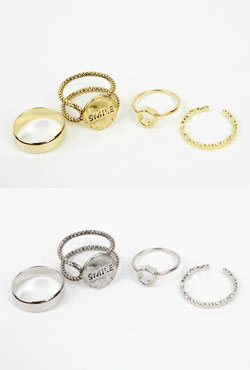 4-Piece Brass Ring Set