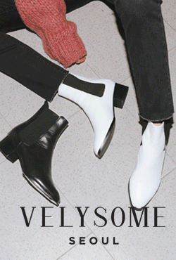 [VELYSOME] Chunky Heel Leather Chelsea Boots