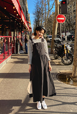 Long Flared Dungaree Dress